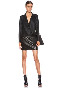 Barbara Bui|Leather Skirt Shawl Collar Poly Dress in Black