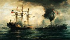 """""""Naval Battle of Iquique"""" - oil on canvas painting by Thomas Somerscales imagining the battle between the Chilean corvette Esmeralda steam and Peruvian monitor Huáscar May 21 Bolivia, Chile, War Of The Pacific, Battle Fleet, Monitor, Holidays In May, Navy Day, Ship Of The Line, Panzer"""