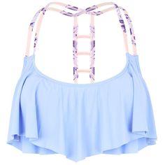 """Lilac Strap Black Flounce Bikini Top"" found on Polyvore"