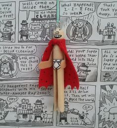 Captain Underpants Clothespin Doll Ornament by LittleParade, $8.00