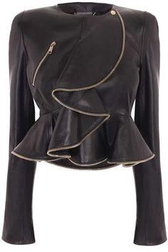 Alexander McQueen | Zip Wave Ruffle Leather Jacket  Dressmesweetiedarling