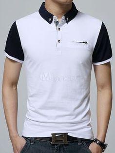 White Polo Shirt Chic Cotton Polo Shirt for Men Polo Shirt Outfits, Mens Polo T Shirts, Polo Tees, Polo Shirt Design, Le Polo, Summer Outfits Men, Striped Polo Shirt, Fashion Wear, Shirt Designs