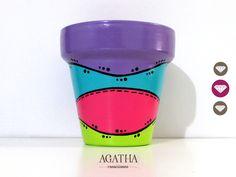 macetas pintadas a mano Clay Pot Crafts, Crafts To Do, Decor Crafts, Terracotta Paint, Terracotta Pots, Painted Flower Pots, Painted Pots, Cactus Pot, Funky Art