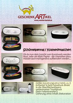 Schüttelpennal / Kosmetiktascherl mit Cartoon bedruckt