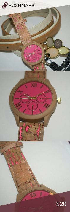 "**Fushia, Brown Cork Watch** Brand new without tags.   The color is fushia with brown.  Sorry no trades.   If you have any questions please ask.   If you don't like the price please use the offer button.  Have an amazing day! ""Great Sense of Style"" Boutique Accessories Watches"