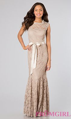 High Neck Sleeveless Lace Gown by Morgan at PromGirl.com