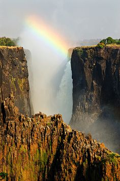 Rainbow over the falls - Zambia