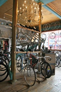 mountain display to accommodate more bikes. create mountain feel under bikes