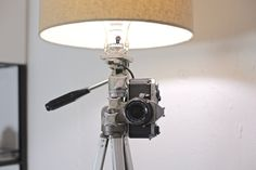 Upcycled Tripod Floor Lamp with Decorative Pentax by HomersGarage
