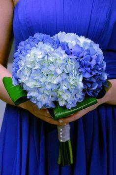 Beautiful Wedding Bouquet Showcasing: Blue Hydrangea (Hortensia) + Folded Green Aspidistra