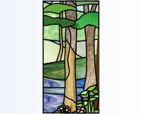 Summer trees (flowers and pond) quadryptich of the four seasons winter summer autumn sprint stained glass patterns can be enlarged to 12 x 24 or anything with that width to height ratio | PDQ Patterns