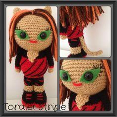 Toralei stripe crochet doll, Darcys Dolls. Monster high