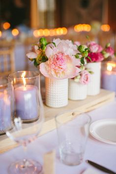 Milk glass vases with pretty pink blooms. Photography by Micheal B. Photography  Read more - http://www.stylemepretty.com/2013/09/10/quebec-wedding-from-micheal-b-photography-unity-weddings-2/