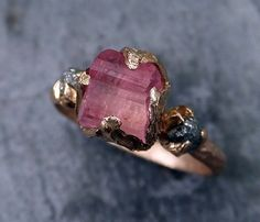Raw Pink Tourmaline Diamond 14k Rose Gold Engagement by byAngeline