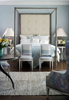 statement headboard by hickory chair. love the serene colour palette. via traditional home magazine, designed by ron fiore