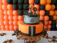 10th Birthday Parties, Birthday Treats, Black Butler Cake, 3d Cakes, Cupcake Cakes, Naruto Party Ideas, Bolo Naruto, Gym Cake, Naruto Birthday