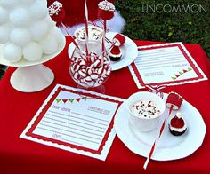 what a great idea to make writing a letter to Santa even more special- turn it into a party with treats, special paper, and even Santa chair covers