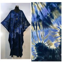 Pewter Grey, Caftans, Periwinkle, Cotton Spandex, Tie Dye, Tops, Women, Fashion, Ponchos