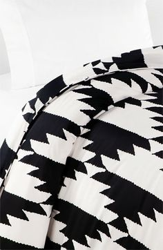 DVF 'Native Hound' Duvet Cover. Absolutely perfect black and white Aztec print. Thinking this would be a pretty simple quilt block to make. Half square triangles.