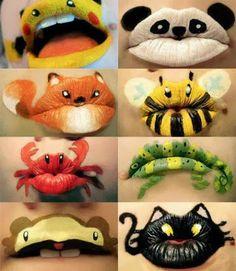 Pintar la cara y los labios en carnavales