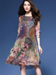MYCOURSE Dress Floral Print Asymmetric Midi Silk Dress for Women New Fashion Vintage Half Sleeve Loose Summer Dresses Vestidos - Affiliate Win Chiffon Floral, Chiffon Dress, Silk Dress, Elegant Dresses, Casual Dresses, Fashion Dresses, Women's Casual, Summer Dresses, Casual Fall