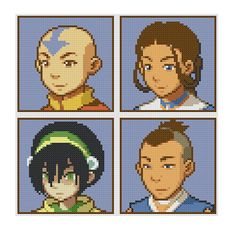 Free Avatar Portraits Cross Stitch Pattern Avatar the Last Airbender Aang Katara Toph Sokka by SpriteStitches on Etsy Small Cross Stitch, Beaded Cross Stitch, Cross Stitch Designs, Cross Stitch Embroidery, Cross Stitch Patterns, Minecraft Pixel Art, Minecraft Skins, Minecraft Buildings, Perler Bead Art
