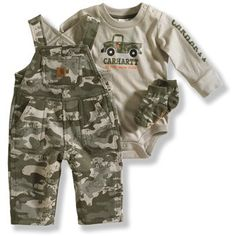 Amazon.com: Carhartt Baby-boys Newborn Adjustable Strap 3 Piece Gift Set, Green Camo, 6 Months: Clothing