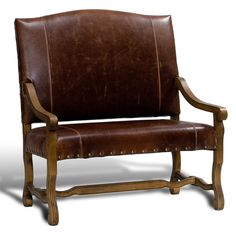 Italian Tuscan Oak  Dark Brown Leather Settee,44.5'' X 47''H #Unbranded #Traditional