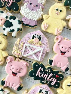 Farm Cookies, Cookies For Kids, Cute Cookies, Sugar Cookies, Farm Animal Party, Farm Cake, Cake Factory, Cookie Icing, Baby Shower Cookies