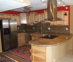 u shaped kitchen with bar (sink & dishwasher in bar, fridge in back)