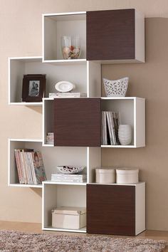 Harriette White Bookshelf with Brown Doors