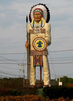 The Freeport Big Indian - approximatley 50 ft. tall - Freeport, Maine.  Pinned by www.mygrowingtraditions.com