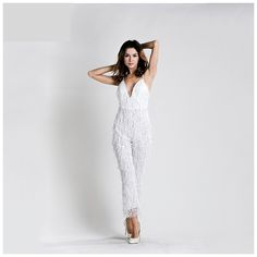 White Sequin Jumpsuit
