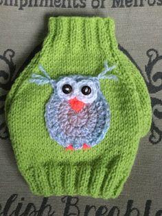 XXSmall hand knit little owl puppy dog sweater jumper coat (raglan sleeved) by DogzPawz on Etsy
