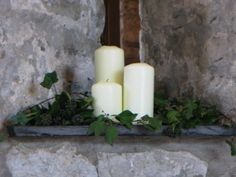 The alcoves can be filled with candles and foliage.