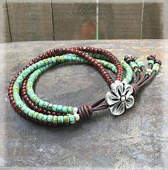 Boho Wrap Bracelet/ Seed Bead Bracelet/ Beaded Leather Wrap/ Bohemian Bracelet/ Wrap Bracelet/ Leather Bracelet/ Beaded Bracelet.