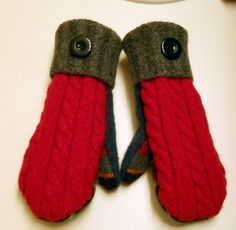 Cable Red and Multi Stripes felted wool mittens by merchantships