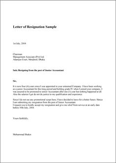 letter of resignation sample template example and format resignation example professional resignation letter