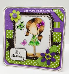 Handmade birthday card using digistamp from All Dressed Up Stamps
