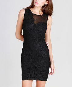 Look what I found on #zulily! Black Asymmetrical-Lace Sleeveless Dress #zulilyfinds