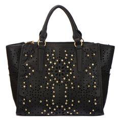 Laser Cut Studded Rhinestone Faux Leather Tote Bag Black