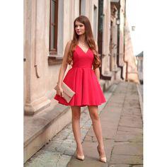VIVIANNE - Sukienka z koła z dłuższym tyłem malinowy