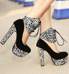 Sexy Leopard Print Lace Up High Heel Pumps