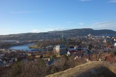 A view of a part of Trondheim with Nidelva river and the Nidaros Cathedral