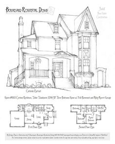 1 story 3 Bed, 2 Bath 2700 sq ft House 352 by on DeviantArt Victorian House Plans, Vintage House Plans, Victorian Homes, Sims House Plans, House Floor Plans, Sims Building, Building A House, Vintage Architecture, Architecture Blueprints