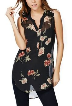 Loving Just Fab's Sleeveless Floral Print Top!! Perfect with jeans, legging or even a skirt!!  #justfabapparel