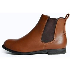 Boohoo Alice Elastic Insert Flat Chelsea Boot ($44) ❤ liked on Polyvore featuring shoes, boots, brown, beatle boots, faux boots, elastic boots, special occasion shoes and brown boots
