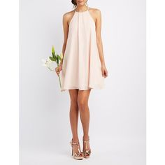 Charlotte Russe Bib Neck Shift Dress ($40) ❤ liked on Polyvore featuring dresses, peach whip, peach bridesmaid dresses, white cocktail dresses, holiday dresses, evening dresses and peach prom dresses