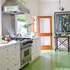 Love the white cabinets, green floor & botanical print!