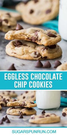 Soft and chewy eggless chocolate chip cookies! These are simple to make (no chilling!) with easy-to-find ingredients and, most importantly, they taste like classic chocolate chip cookies. I also include notes to make this recipe dairy-free/vegan. Eggless Recipes, Eggless Baking, Easy Cookie Recipes, Easy Desserts, New Recipes, Baking Recipes, Dessert Recipes, Favorite Recipes, Crispy Chocolate Chip Cookies